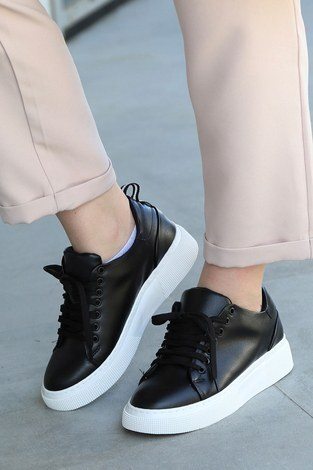 - Düz Renk Spor Ayakkabı 6159-1 Siyah