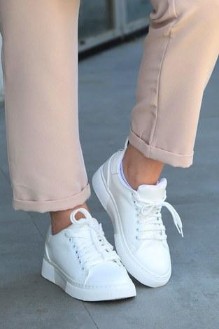 - Düz Renk Spor Ayakkabı 6159-2 Beyaz