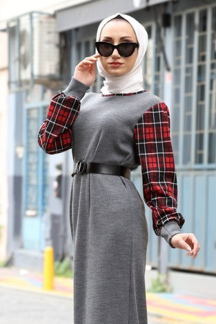 - Ekose Detaylı Elbise NV6693-12 gri (1)
