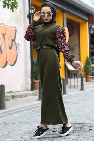 - Ekose Detaylı Elbise NV6693-04 haki