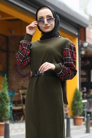 - Ekose Detaylı Elbise NV6693-04 haki (1)