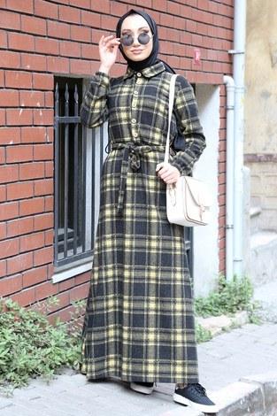 Ekose Desenli Elbise 5971-10 sarı - Thumbnail