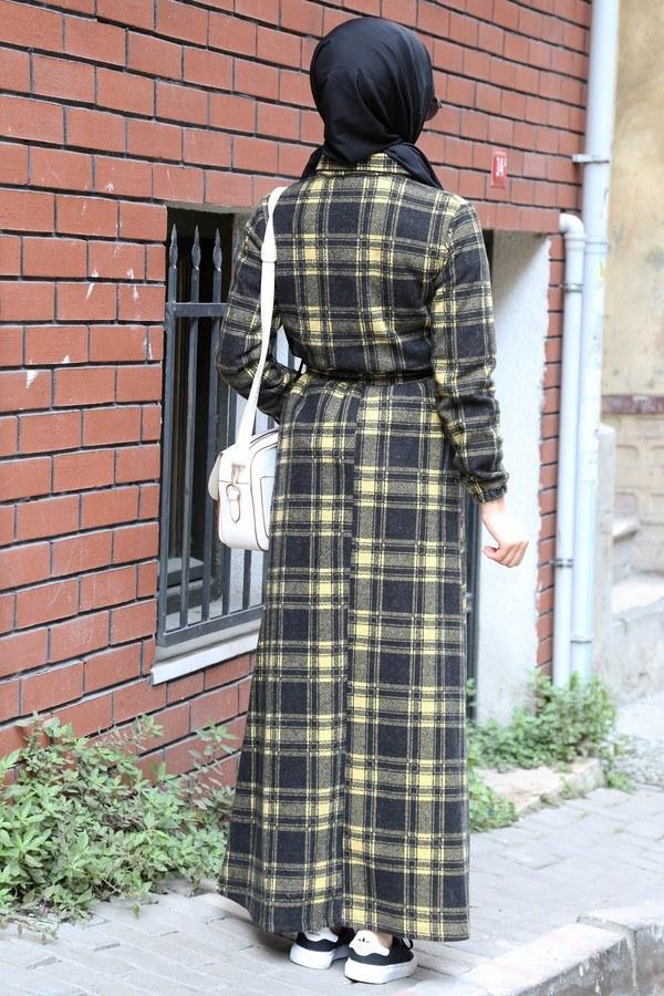 Ekose Desenli Elbise 5971-10 sarı