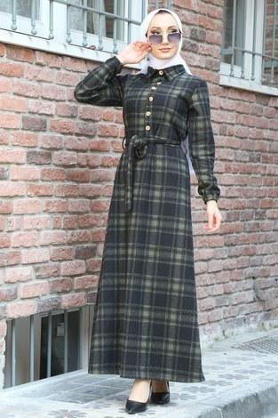 Ekose Desenli Elbise 5971-04 haki - Thumbnail