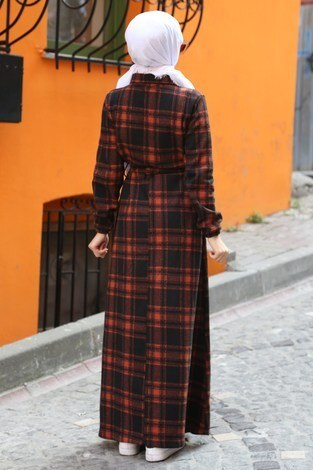 Ekose Desenli Elbise 5971-07 turuncu - Thumbnail