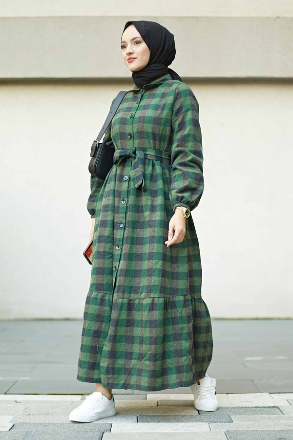 Ekoseli Salaş Elbise 100MD5623 Haki
