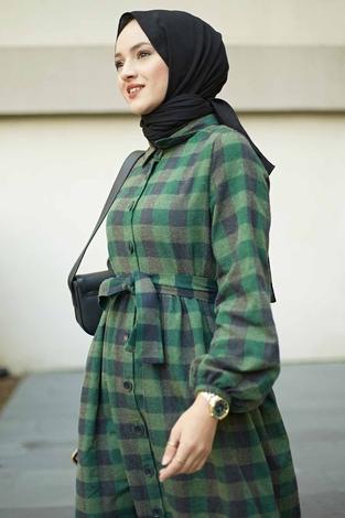 Ekoseli Salaş Elbise 100MD5623 Haki - Thumbnail