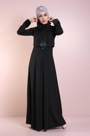 - Elbise, Bolero ve Kolye 3 Parça Takım 8430-6-siyah