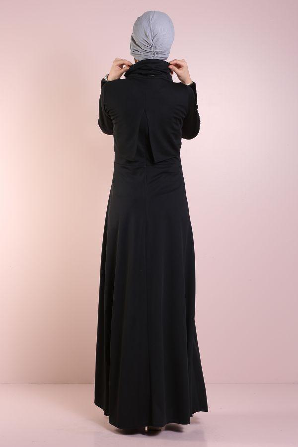 Elbise, Bolero ve Kolye 3 Parça Takım 8430-6-siyah
