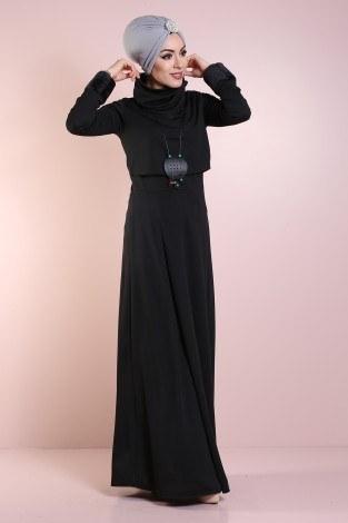 Elbise, Bolero ve Kolye 3 Parça Takım 8430-6-siyah - Thumbnail