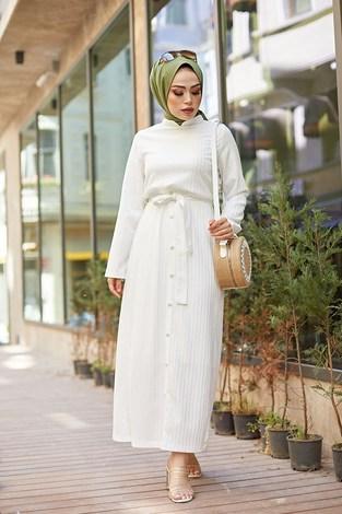 - Eteği Düğmeli Elbise 4586-1 Beyaz