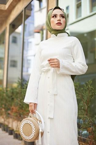 - Eteği Düğmeli Elbise 4586-1 Beyaz (1)