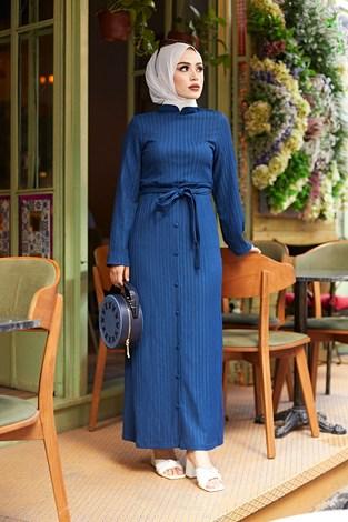 - Eteği Düğmeli Elbise 4586-2 İndigo