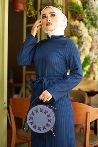 - Eteği Düğmeli Elbise 4586-2 İndigo (1)