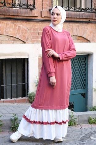 - Eteği fırfır Detaylı Elbise 2893-06