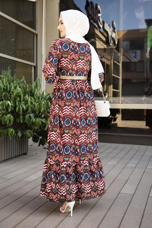 Eteği Fırfırlı Çingene Elbise 190E96428 Bordo - Thumbnail