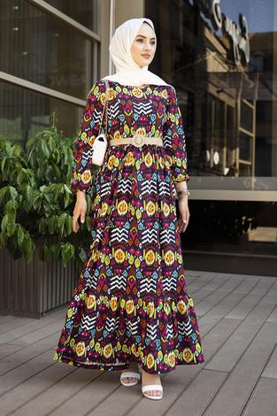 Eteği Fırfırlı Çingene Elbise 190E96428 Lacivert - Thumbnail
