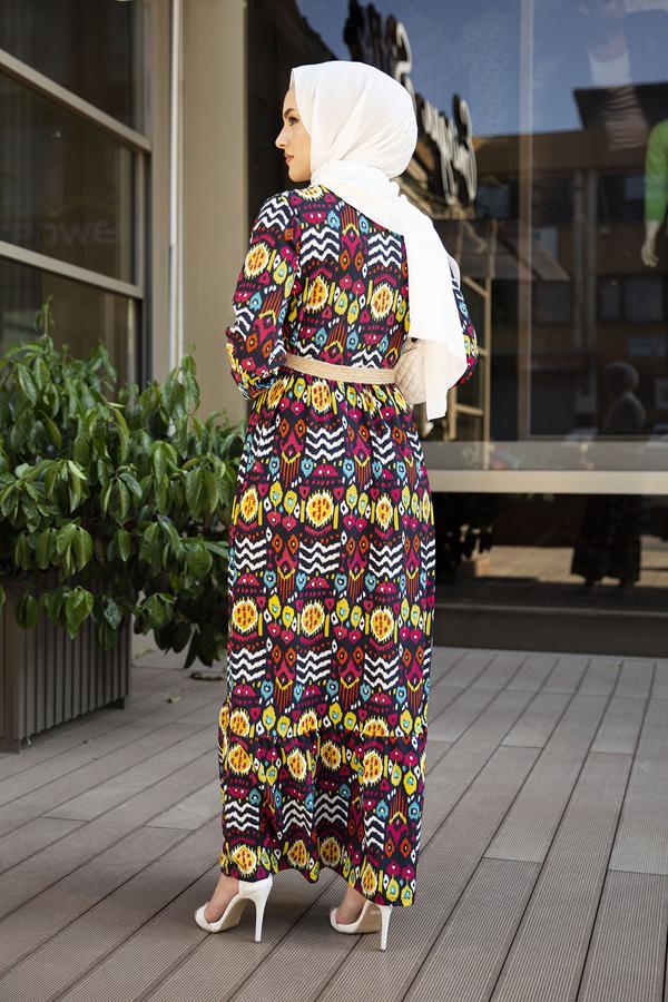 Eteği Fırfırlı Çingene Elbise 190E96428 Lacivert