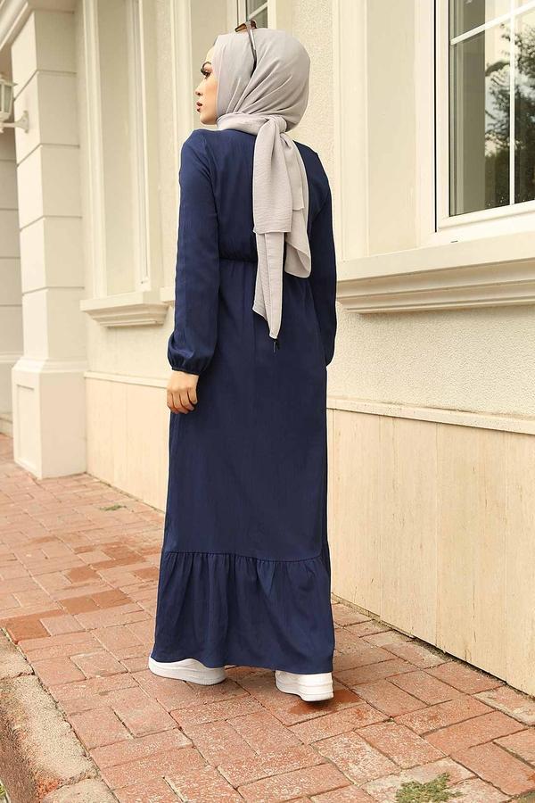 Eteği Fırfırlı Elbise 100MD1278 Lacivert