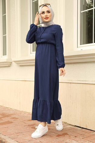 Eteği Fırfırlı Elbise 100MD1278 Lacivert - Thumbnail
