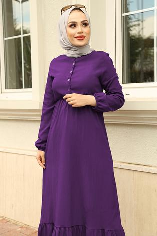 Eteği Fırfırlı Elbise 100MD1278 Mor - Thumbnail