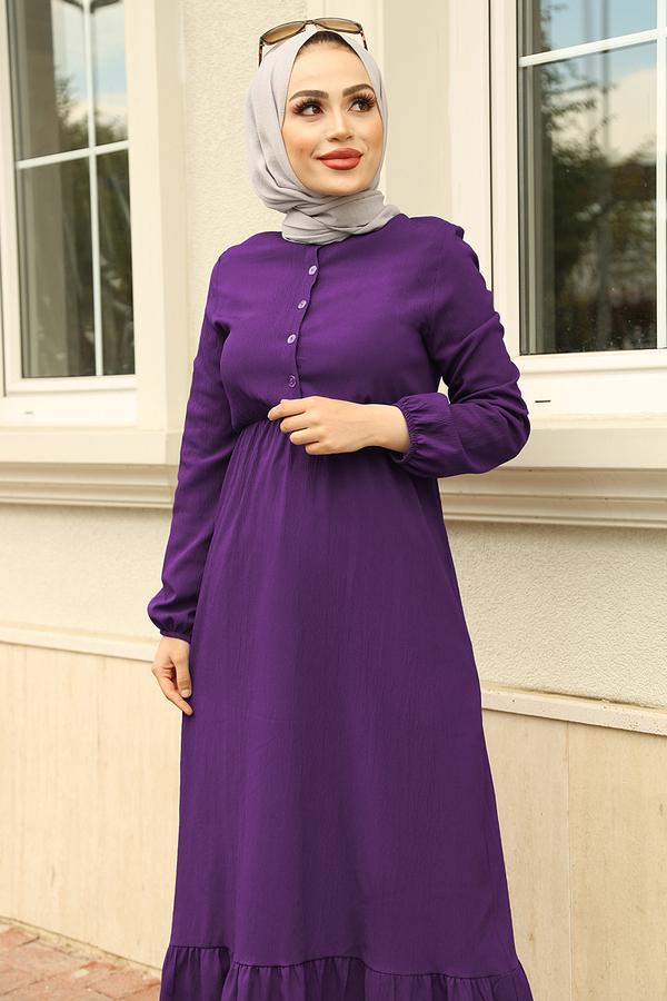 Eteği Fırfırlı Elbise 100MD1278 Mor