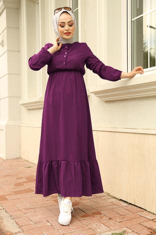 Eteği Fırfırlı Elbise 100MD1278 Şarabi - Thumbnail