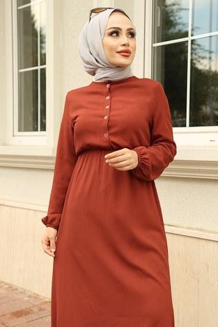 - Eteği Fırfırlı Elbise 1278-9 Kiremit (1)
