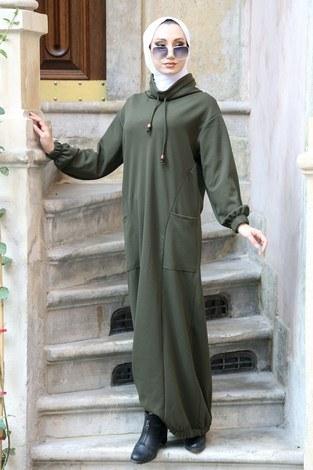 - Eteği Lastikli Spor Elbise 3109-04 haki