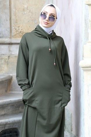 - Eteği Lastikli Spor Elbise 3109-04 haki (1)
