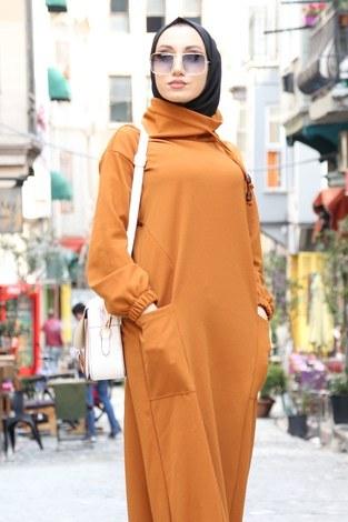 - Eteği Lastikli Spor Elbise 3109-16 vizon (1)