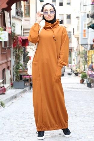 - Eteği Lastikli Spor Elbise 3109-16 vizon