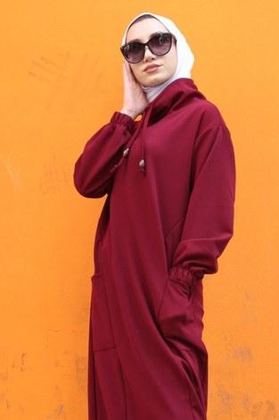 - Eteği Lastikli Spor Elbise 3109-03 bordo (1)