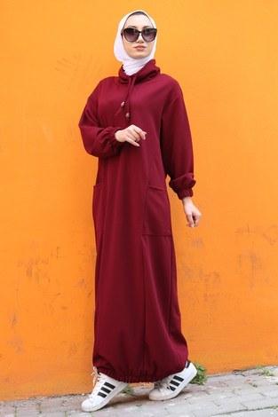 - Eteği Lastikli Spor Elbise 3109-03 bordo