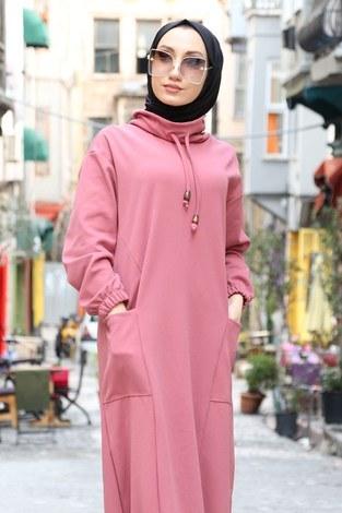 - Eteği Lastikli Spor Elbise 3109-09 pembe (1)