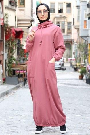 - Eteği Lastikli Spor Elbise 3109-09 pembe