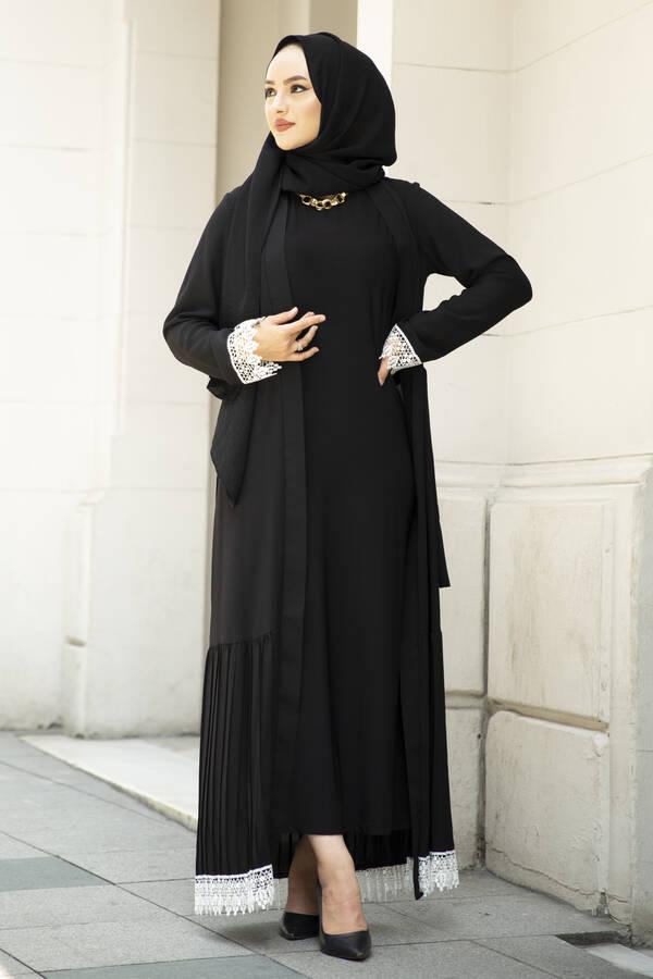 Eteği Pliseli Abaya Siyah