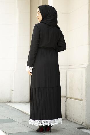 Eteği Pliseli Abaya Siyah - Thumbnail
