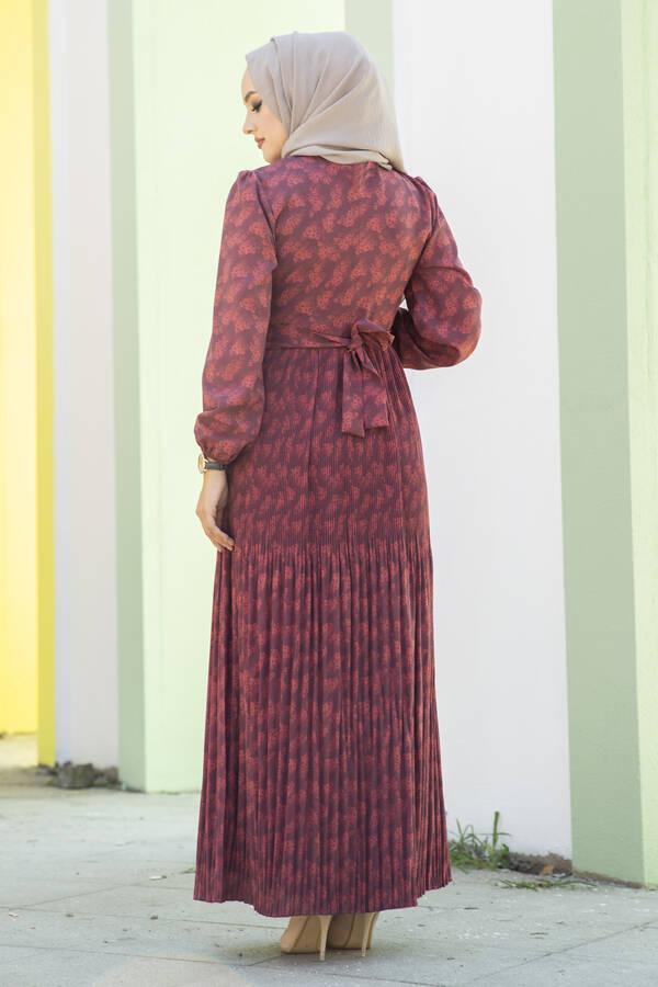 Eteği Pliseli Kuşaklı Elbise Bordo