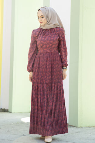 Eteği Pliseli Kuşaklı Elbise Bordo - Thumbnail