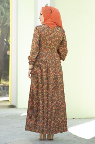 Eteği Pliseli Kuşaklı Elbise Haki - Thumbnail