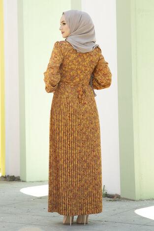 Eteği Pliseli Kuşaklı Elbise Hardal - Thumbnail