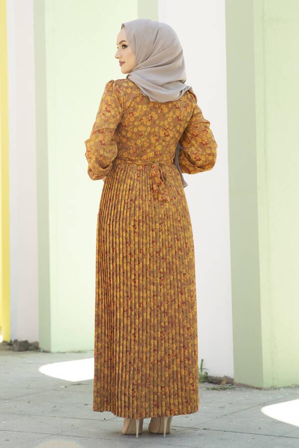 Eteği Pliseli Kuşaklı Elbise Hardal
