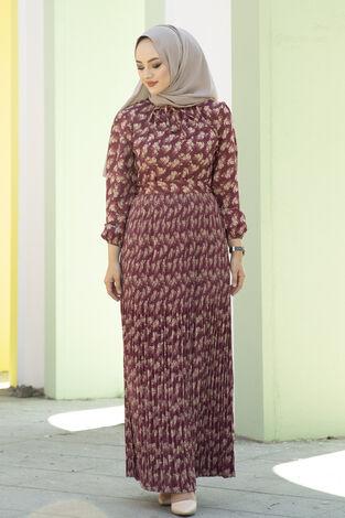Eteği Pliseli Kuşaklı Elbise Şarabi - Thumbnail