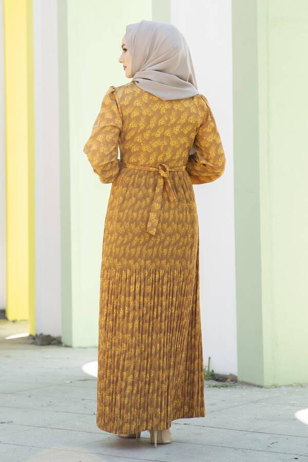 Eteği Pliseli Kuşaklı Elbise Sarı