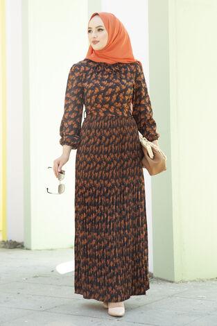 Eteği Pliseli Kuşaklı Elbise Siyah - Thumbnail