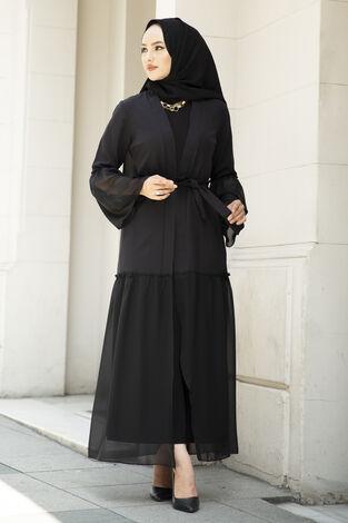 Eteği Şifon Detaylı Abaya Siyah - Thumbnail