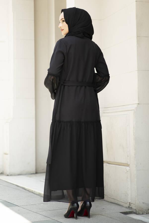 Eteği Şifon Detaylı Abaya Siyah