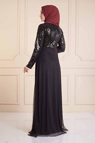 Eteği Tüllü Pul Payet Elbise 190E4521 Siyah - Thumbnail