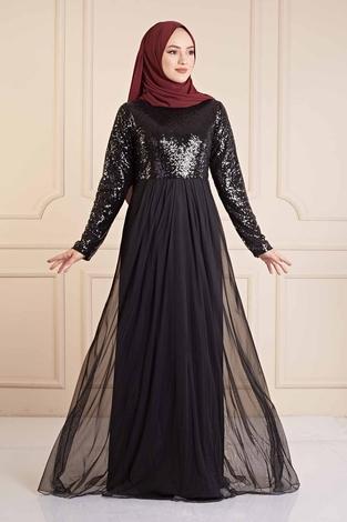 - Eteği Tüllü Pul Payet Elbise 190E4521 Siyah